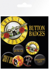 Guns N Roses - Button Badges Lyrics And Logos 6 pack