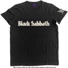 Black Sabbath - Men's Fashion Tee: Logo & Daemon with Applique Motifs