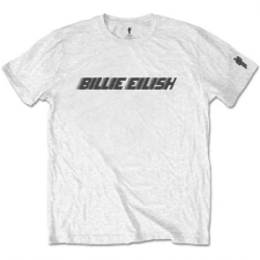 Billie Eilish - Billie Eilish Unisex Tee: Black Racer Logo (Sleeve Print)