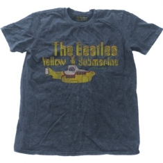 Beatles - T-shirt - Yellow Submarine Nothing Is Real (Men Denim Blue, Snow Wash)