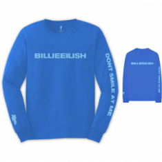 Billie Eilish - Billie Eilish Unisex Long Sleeved Tee: Smile (Back & Arm Print)