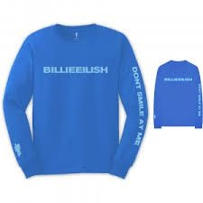 Billie Eilish - UNISEX LONG SLEEVED TEE: SMILE (BACK & ARM PRINT)
