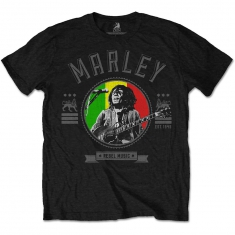 Bob Marley Rebel Music Seal Mens Black T Shirt
